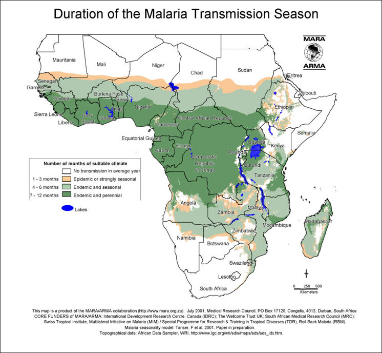 Malaria in Africa map