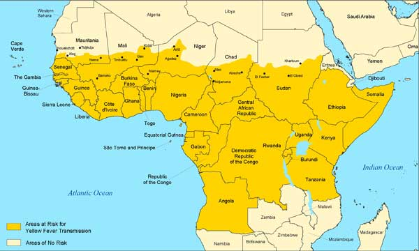Yellow fever in Africa map